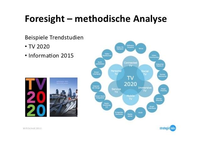 Foresight – methodische Analyse   Beispiele Trendstudien   • TV 2020   • InformaIon 2015  Will...