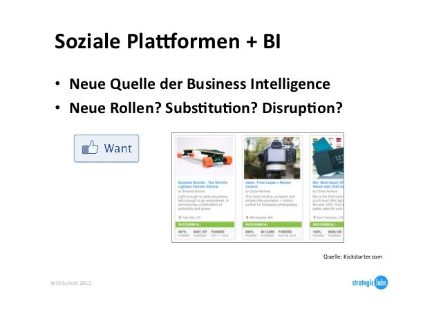 Soziale Plalormen + BI   • Neue Quelle der Business Intelligence   • Neue Rollen? Subs6tu6on? Di...