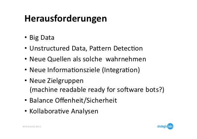 Herausforderungen   • Big Data   • Unstructured Data, Pajern DetecIon   • Neue Quellen als solche ...