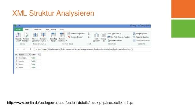 XML Struktur Analysieren http://www.berlin.de/badegewaesser/baden-details/index.php/index/all.xml?q=