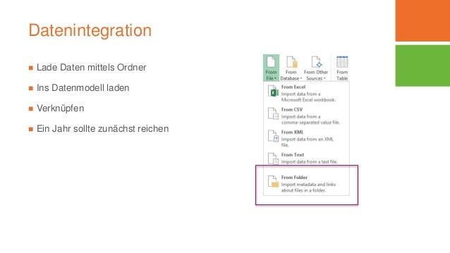 Datenintegration  Lade Daten mittels Ordner  Ins Datenmodell laden  Verknüpfen  Ein Jahr sollte zunächst reichen