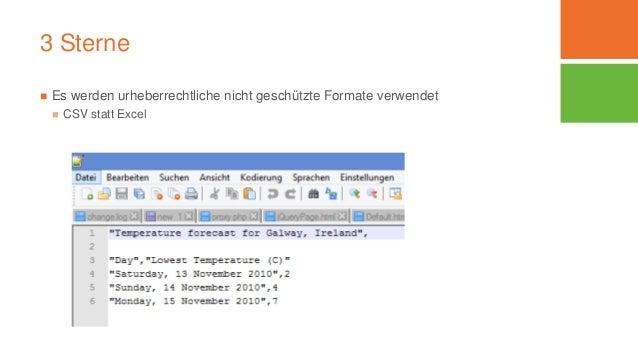 3 Sterne  Es werden urheberrechtliche nicht geschützte Formate verwendet  CSV statt Excel