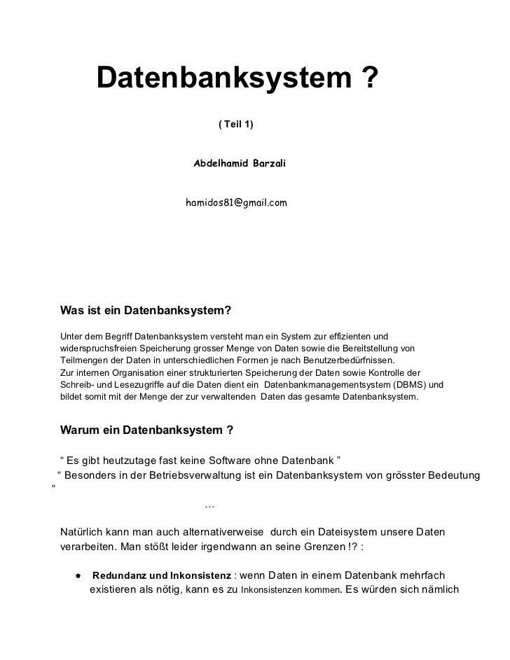 Datenbanksystem ?                                         ( Teil 1)                                  Abdelhamid Barzali   ...