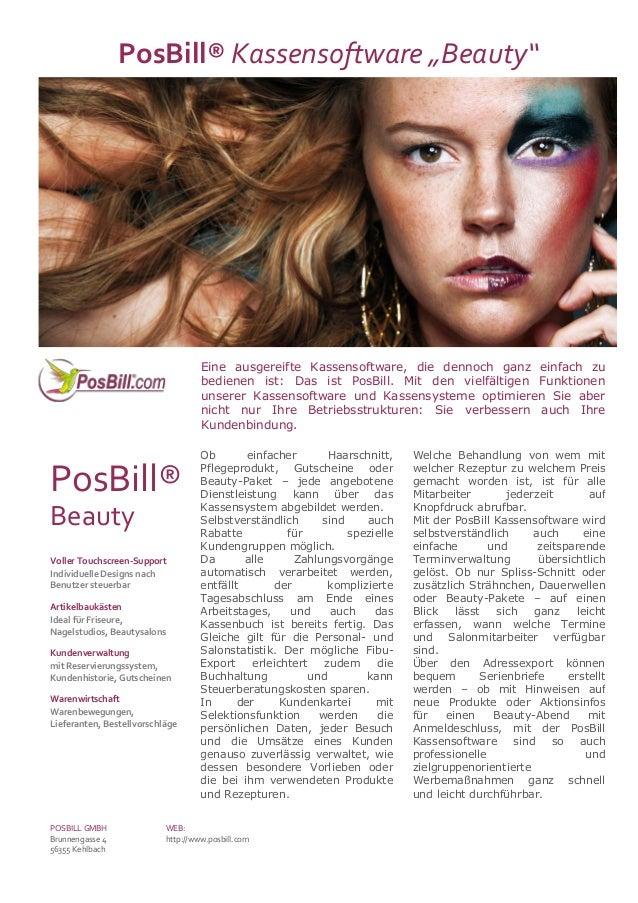 """PosBill® Kassensoftware """"Beauty""""                                    Eine ausgereifte Kassensoftware, die dennoch ganz einf..."""