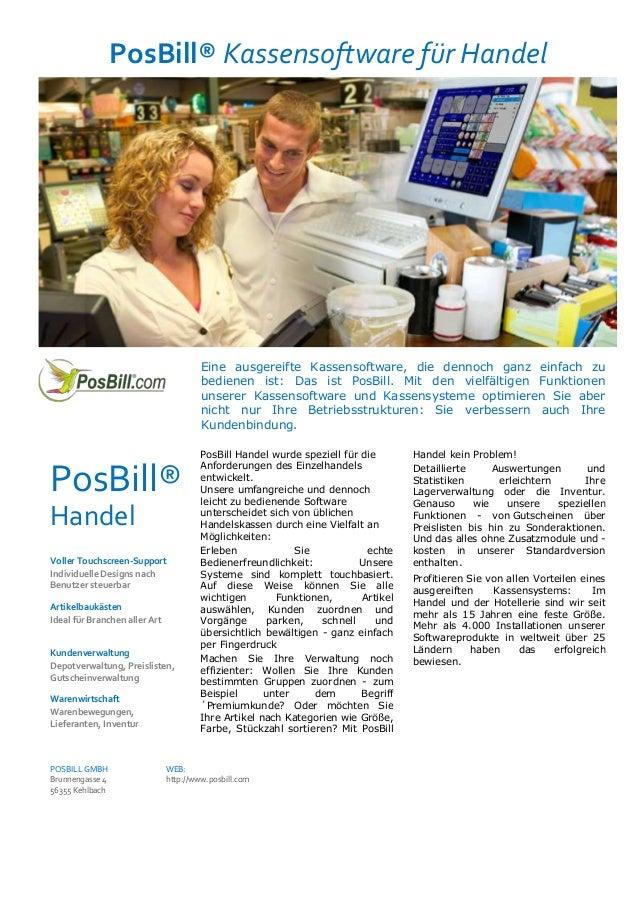 PosBill® Kassensoftware für HandelEine ausgereifte Kassensoftware, die dennoch ganz einfach zubedienen ist: Das ist PosBil...