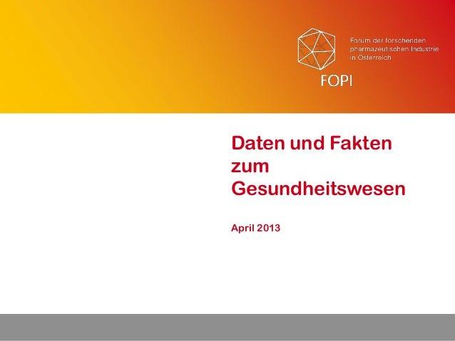 April 2013Daten und FaktenzumGesundheitswesen