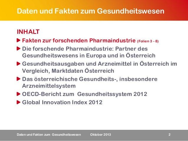 Daten und Fakten zum Gesundheitswesen INHALT Fakten zur forschenden Pharmaindustrie (Folien 3 - 8) Die forschende Pharmain...