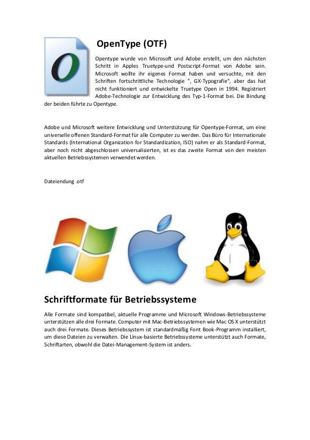 Datenformaten für digitalisierten Satzschriften (Schriftformats) Slide 3
