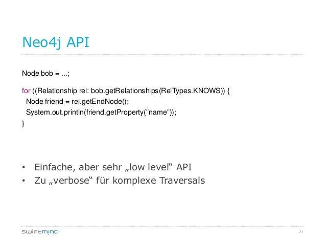 21Neo4j APINode bob = ...;for ((Relationship rel: bob.getRelationships(RelTypes.KNOWS)) {Node friend = rel.getEndNode();Sy...