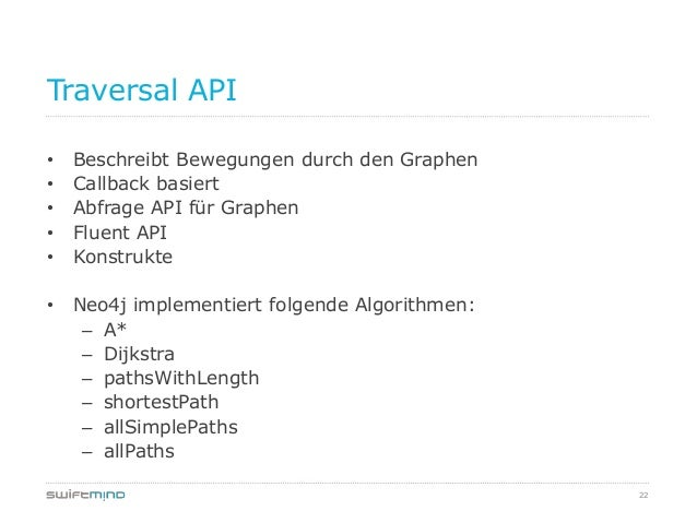 22Traversal API• Beschreibt Bewegungen durch den Graphen• Callback basiert• Abfrage API für Graphen• Fluent API• Konstrukt...