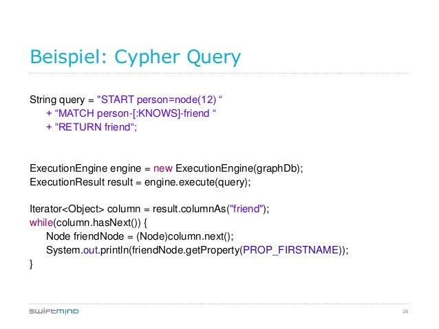 "28Beispiel: Cypher QueryString query = ""START person=node(12) ""+ ""MATCH person-[:KNOWS]-friend ""+ ""RETURN friend"";Executio..."