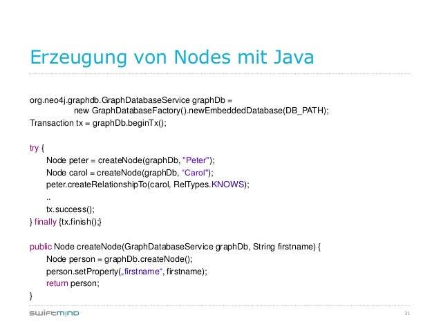 31Erzeugung von Nodes mit Javaorg.neo4j.graphdb.GraphDatabaseService graphDb =new GraphDatabaseFactory().newEmbeddedDataba...