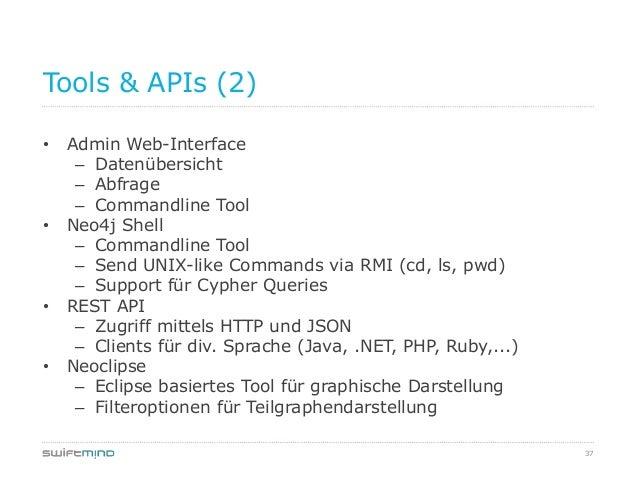 37Tools & APIs (2)• Admin Web-Interface– Datenübersicht– Abfrage– Commandline Tool• Neo4j Shell– Commandline Tool– Send UN...