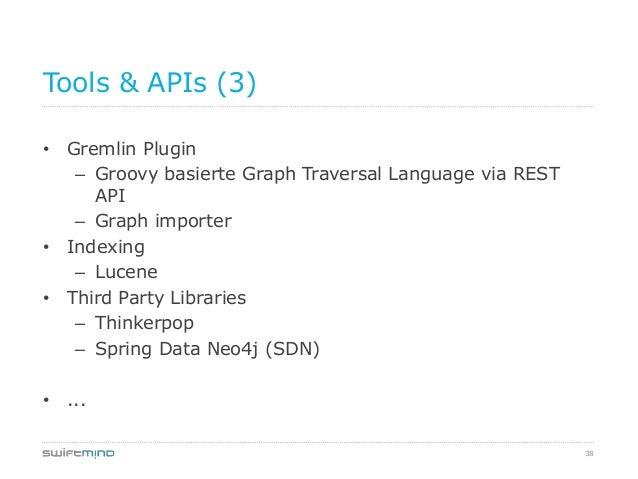 38Tools & APIs (3)• Gremlin Plugin– Groovy basierte Graph Traversal Language via RESTAPI– Graph importer• Indexing– Lucene...