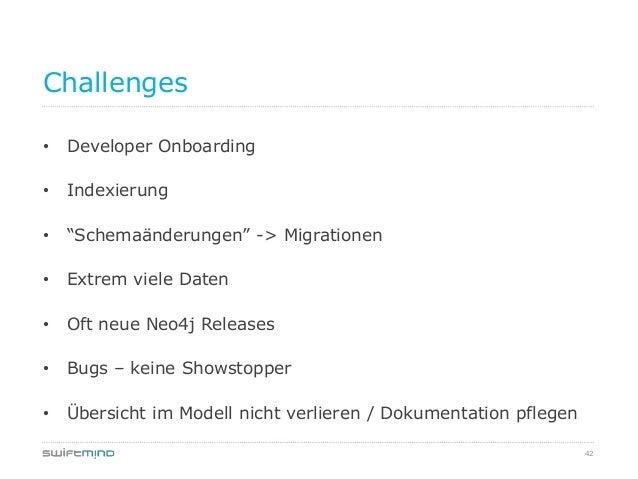 """42Challenges• Developer Onboarding• Indexierung• """"Schemaänderungen"""" -> Migrationen• Extrem viele Daten• Oft neue Neo4j Rel..."""