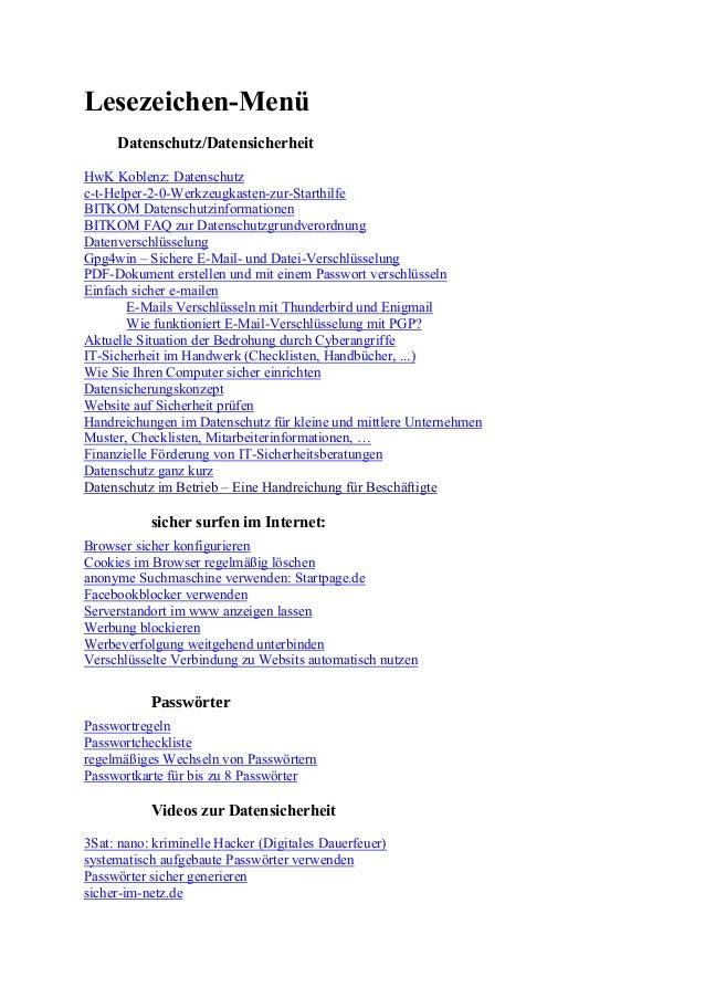 Lesezeichen-Menü Datenschutz/Datensicherheit HwK Koblenz: Datenschutz c-t-Helper-2-0-Werkzeugkasten-zur-Starthilfe BITKOM ...