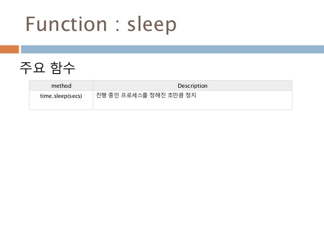 Function : sleep 주요 함수 method Description time.sleep(secs) 진행 중인 프로세스를 정해진 초만큼 정지