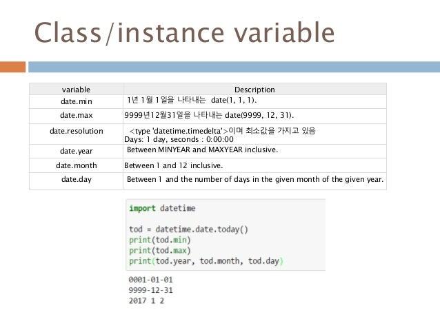 Class/instance variable variable Description date.min 1년 1월 1일을 나타내는 date(1, 1, 1). date.max 9999년12월31일을 나타내는 date(9999, ...
