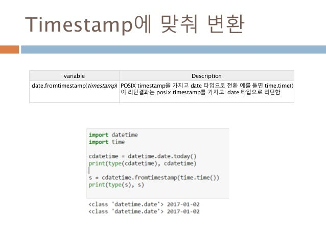 Timestamp에 맞춰 변환 variable Description date.fromtimestamp(timestamp) POSIX timestamp을 가지고 date 타입으로 전환 예를 들면 time.time() 이 ...