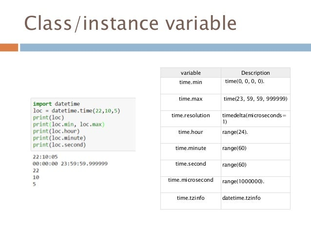 Class/instance variable variable Description time.min time(0, 0, 0, 0). time.max time(23, 59, 59, 999999) time.resolution ...