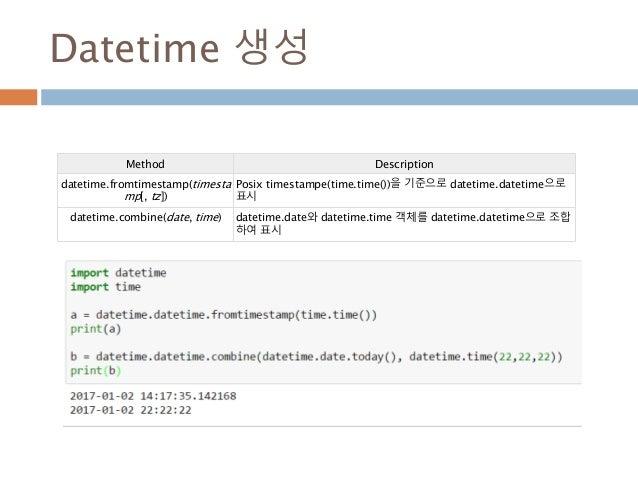 Datetime 생성 Method Description datetime.fromtimestamp(timesta mp[, tz]) Posix timestampe(time.time())을 기준으로 datetime.datet...