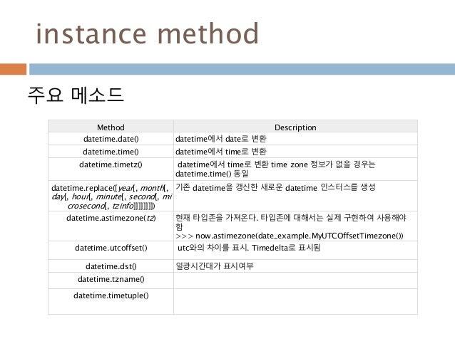 instance method Method Description datetime.date() datetime에서 date로 변환 datetime.time() datetime에서 time로 변환 datetime.timetz...