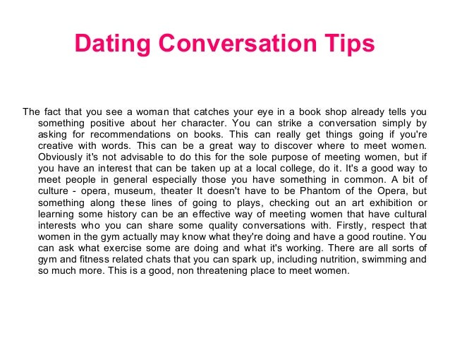 How to carry a conversation online dating