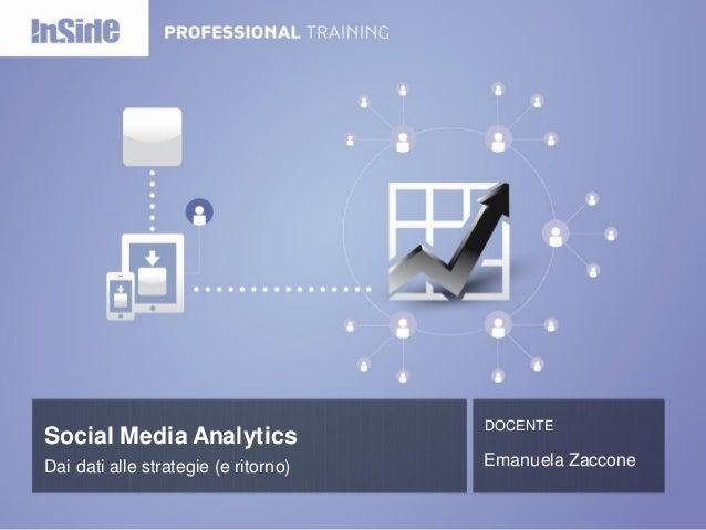 Social Media Analytics  DOCENTE  Dai dati alle strategie (e ritorno)  Emanuela Zaccone