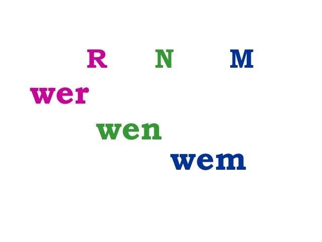 R  wer  N  wen  M  wem