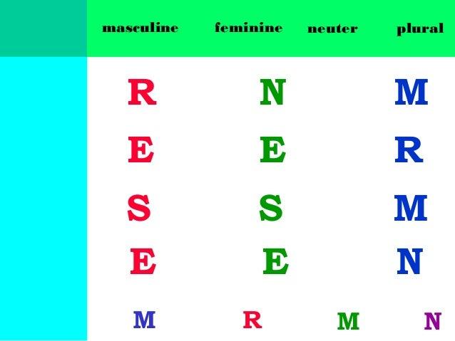 masculine  feminine  neuter  plural  R  N  M  E  E  R  S E  S E  M N  M  R  M  N
