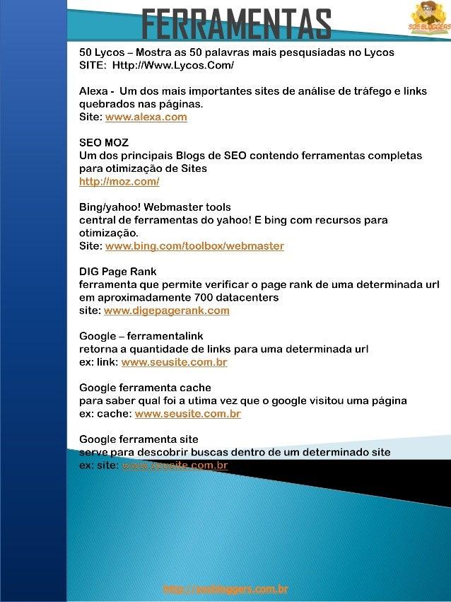 FERRAMENTAS http://sosbloggers.com.br