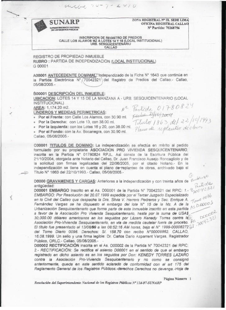 ZONA REGISTRAL N° IX. SEDE LIMA           SUNARP                                                   OFICINA REGISTRAL CALLA...