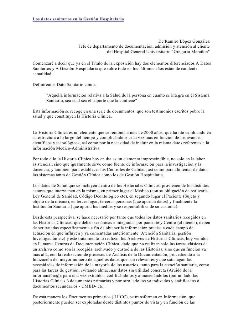 Los datos sanitarios en la Gestión Hospitalaria                                                                       De R...