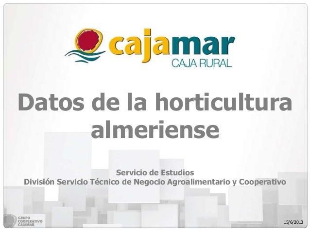 Datos de la horticulturaalmerienseServicio de EstudiosDivisión Servicio Técnico de Negocio Agroalimentario y Cooperativo15...