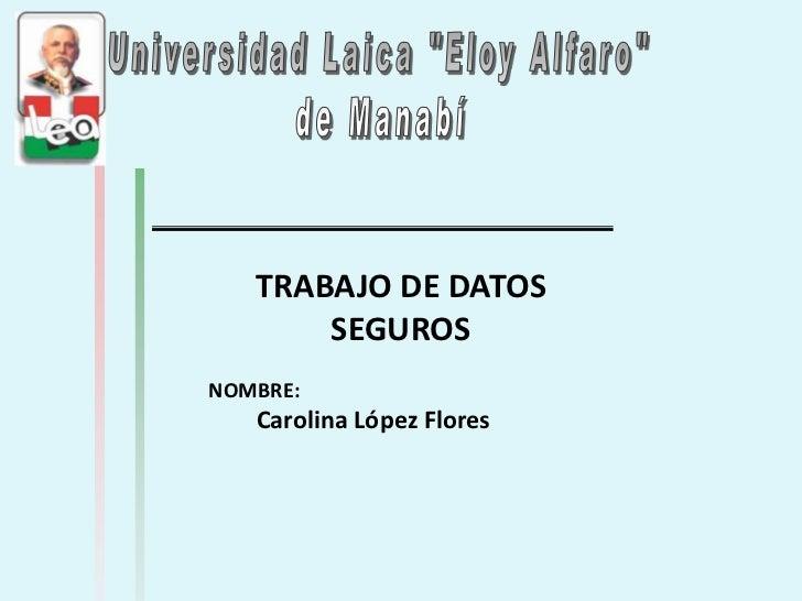 TRABAJO DE DATOS       SEGUROSNOMBRE:   Carolina López Flores