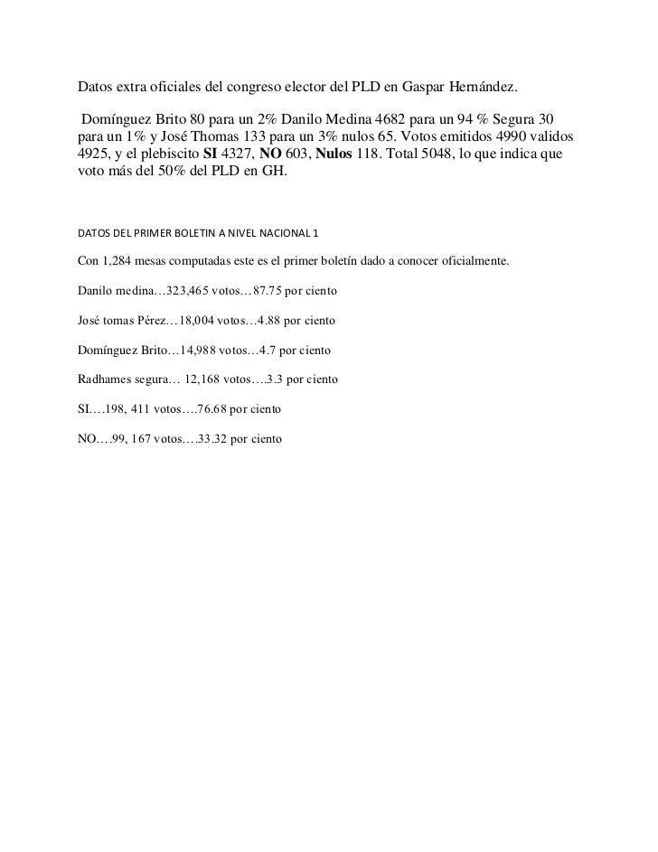 Datos extra oficiales del congreso elector del PLD en Gaspar Hernández.<br /> Domínguez Brito 80 para un 2% Danilo Medina ...