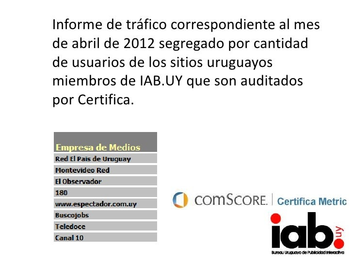 Informe de tráfico correspondiente al mesde abril de 2012 segregado por cantidadde usuarios de los sitios uruguayosmiembro...