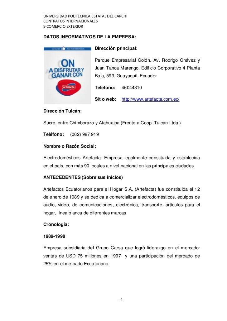 UNIVERSIDAD POLITÉCNICA ESTATAL DEL CARCHICONTRATOS INTERNACIONALES9 COMERCIO EXTERIORDATOS INFORMATIVOS DE LA EMPRESA:   ...