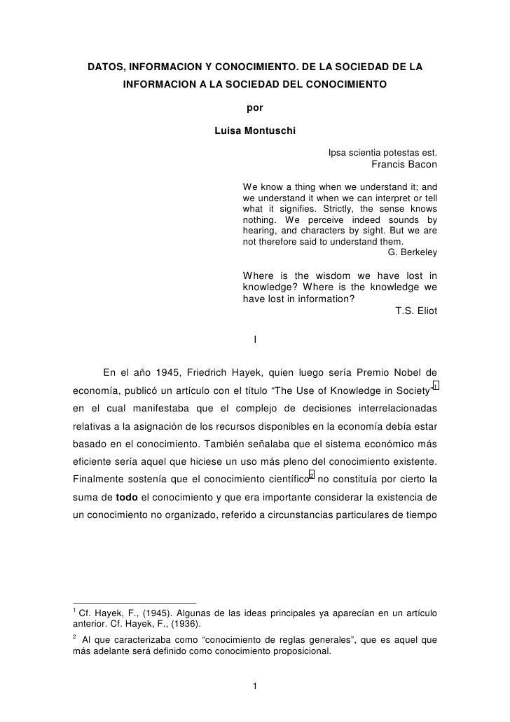 DATOS, INFORMACION Y CONOCIMIENTO. DE LA SOCIEDAD DE LA            INFORMACION A LA SOCIEDAD DEL CONOCIMIENTO             ...