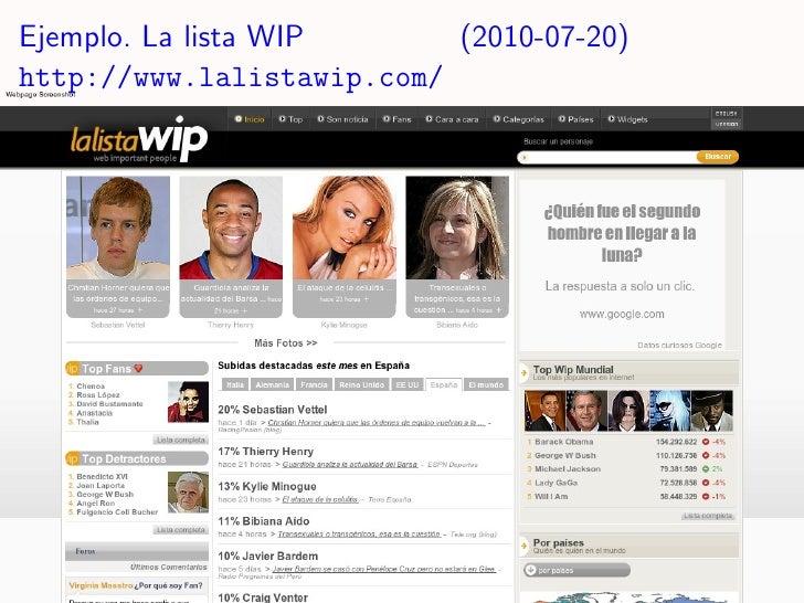 Ejemplo. La lista WIP      (2010-07-20) http://www.lalistawip.com/