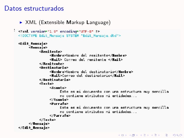 Datos estructurados       XML (Extensible Markup Language)
