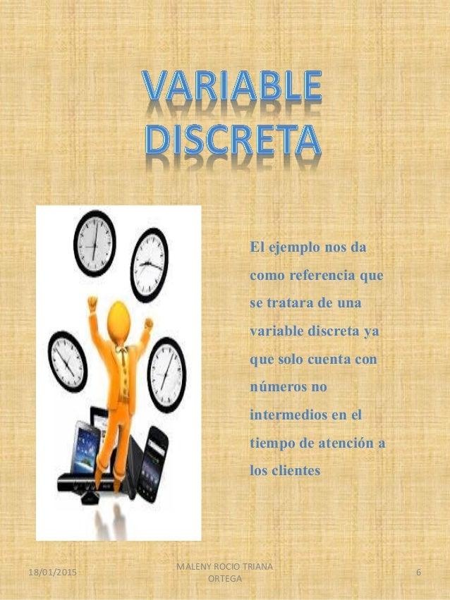 El ejemplo nos da como referencia que se tratara de una variable discreta ya que solo cuenta con números no intermedios en...