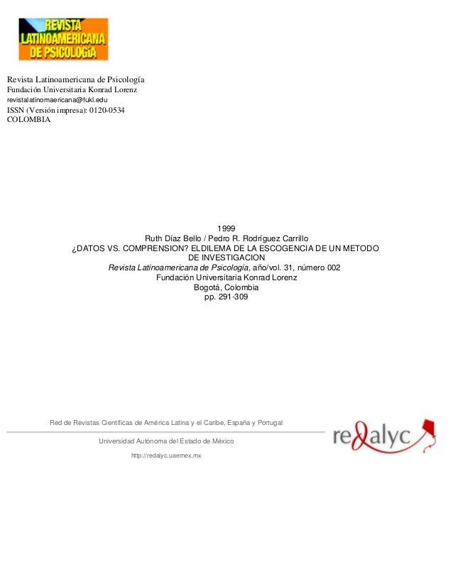 Revista Latinoamericana de Psicología Fundación Universitaria Konrad Lorenz revistalatinomaericana@fukl.edu ISSN (Versión ...