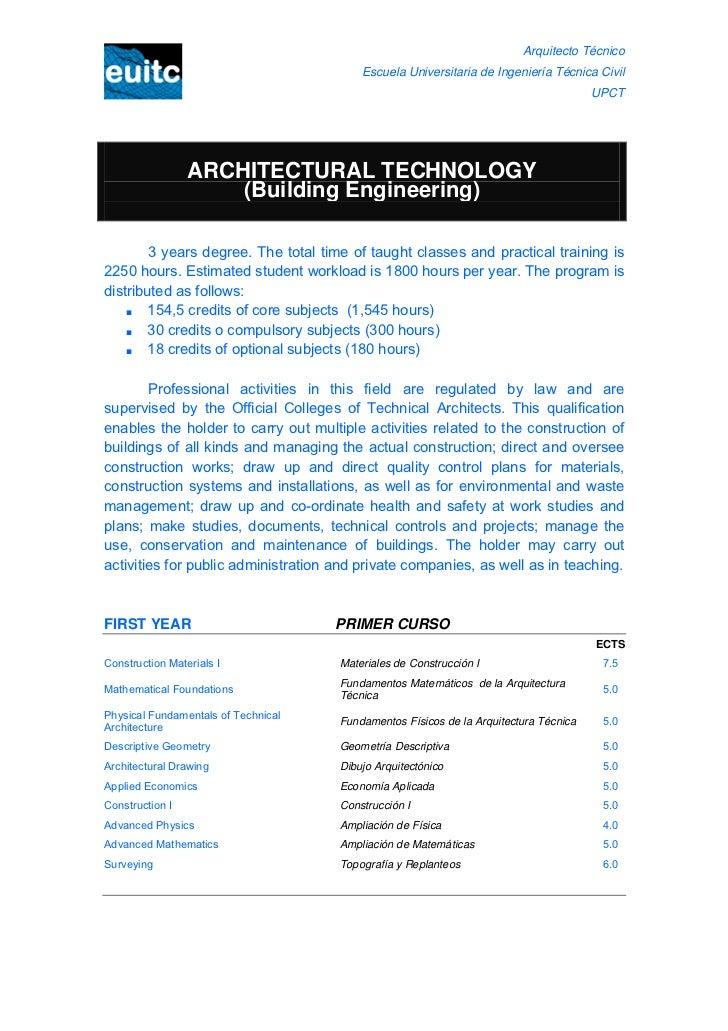 Arquitecto Técnico                                          Escuela Universitaria de Ingeniería Técnica Civil             ...