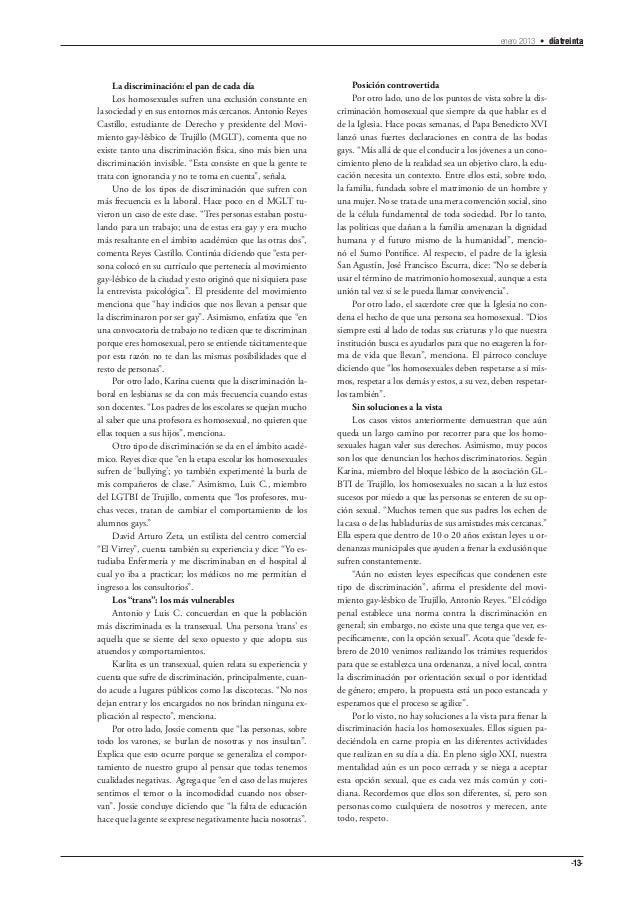enero 2013 • díatreinta     La discriminación: el pan de cada día                          Posición controvertida     Los ...