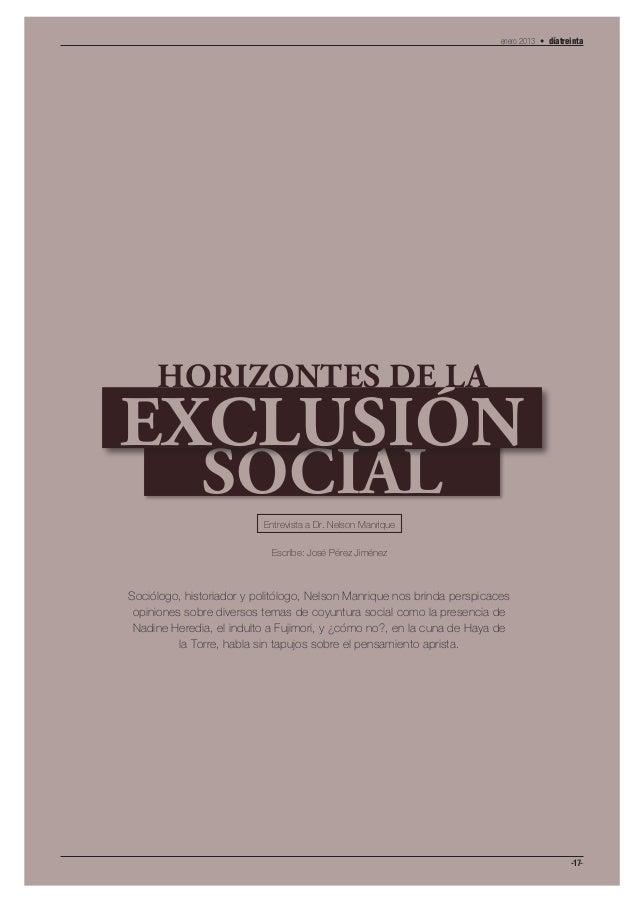 enero 2013 • díatreinta     HORIZONTES DE LAEXCLUSIÓN              SOCIAL                          Entrevista a Dr. Nelson...