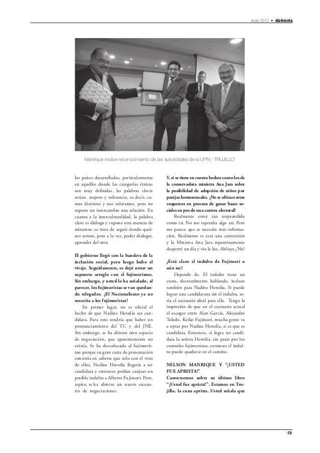 enero 2013 • díatreinta     Manrique recibe reconocimiento de las autoridades de la UPN - TRUJILLOlos países desarrollados...
