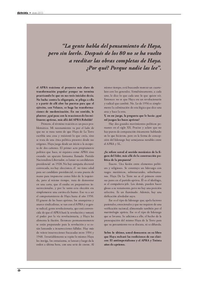"""díatreinta • enero 2013                                 """"La gente habla del pensamiento de Haya,                          ..."""