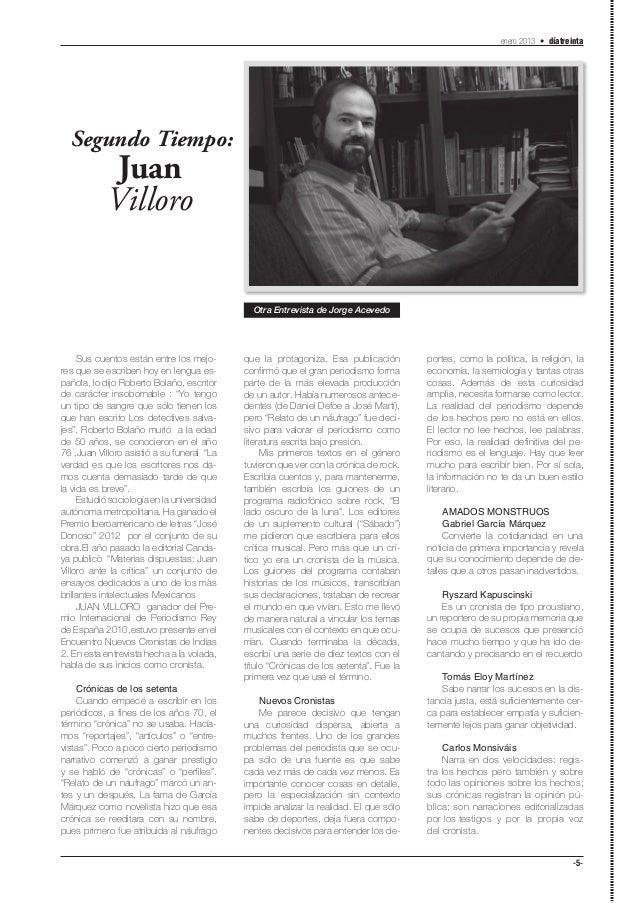 enero 2013 • díatreinta  Segundo Tiempo:             Juan            Villoro                                              ...