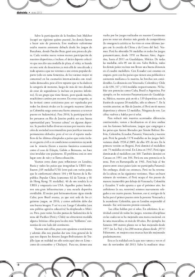 díatreinta • enero 2013                 Salvo la participación de la fondista Inés Melchor      vuelta por los juegos real...